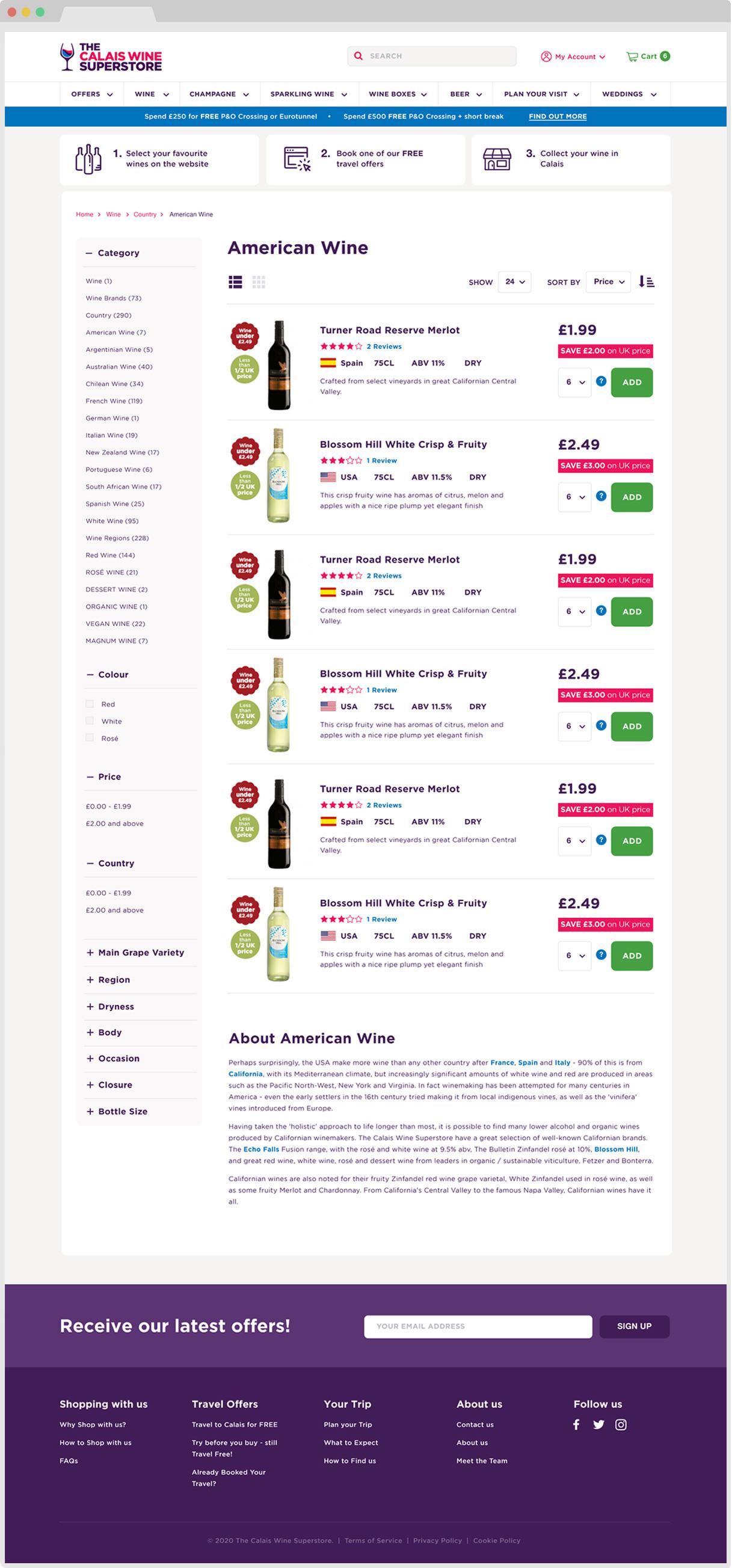Calais wine product listing